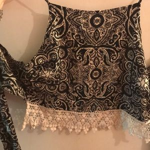 Patterned tie lace tank top